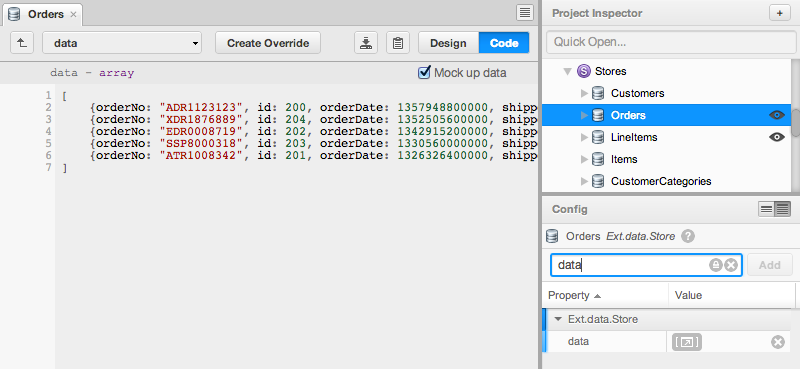 Sencha Architect 2.2 Mock Data