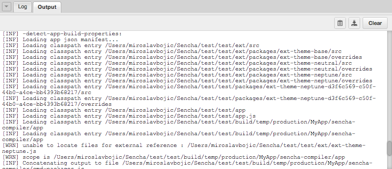 Sencha Cmd Export Log