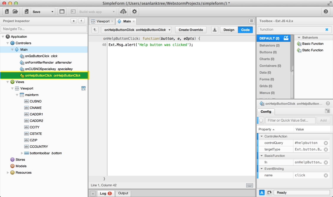 Sean's Sencha Architect - Added onHelpButtonClick Controller Action