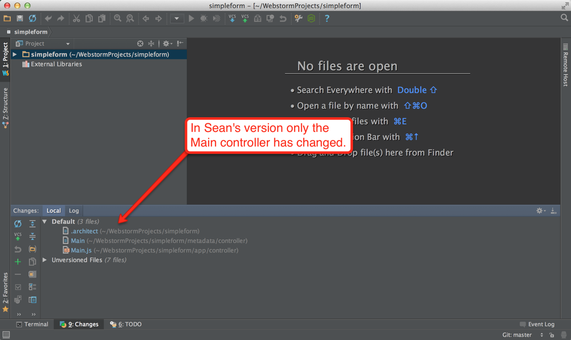 Sean's WebStorm - Only the Main controller has changed