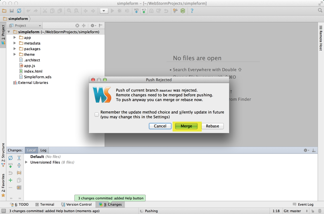 Richard's WebStorm - Push rejected with option to Merge