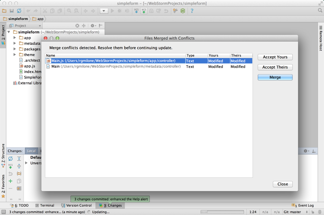 Richard's WebStorm - Files with merge conflicts