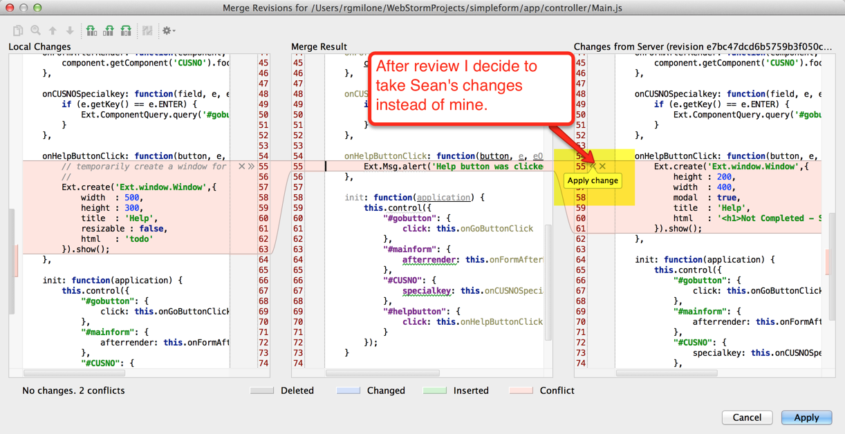 Richard's WebStorm - Merge Revisions window for Main.js