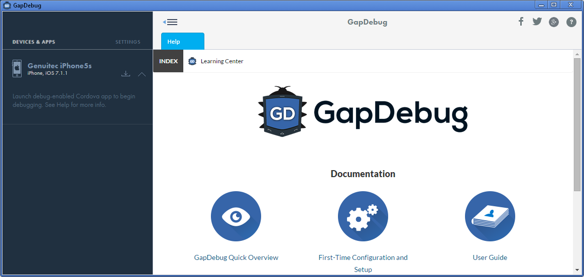 GapDebug is a free cross-platform mobile app debugger developed by Genuitec for use with Android and iOS PhoneGap (or Cordova) applications.
