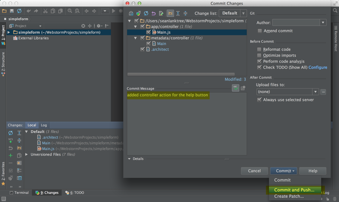 Sean's WebStorm - Commit and push his changes to the Main controller