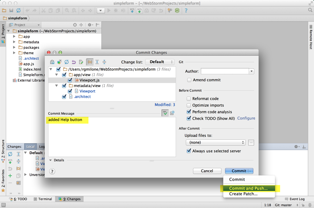 Richard's WebStorm - Commit and push changes to Viewport class