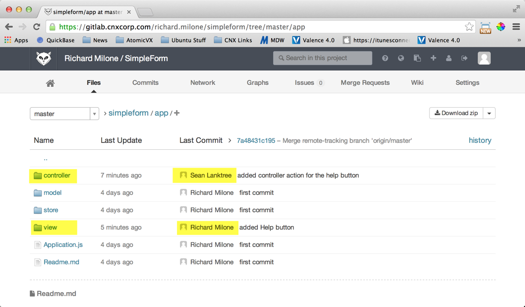 Gitlab Server - Files after changes pushed by both Sean and Richard