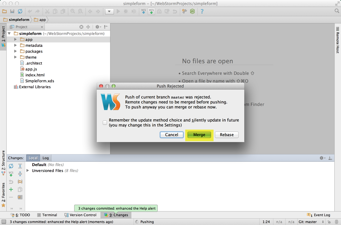 Richard's WebStorm - Rejection when Richard's new message window pushed
