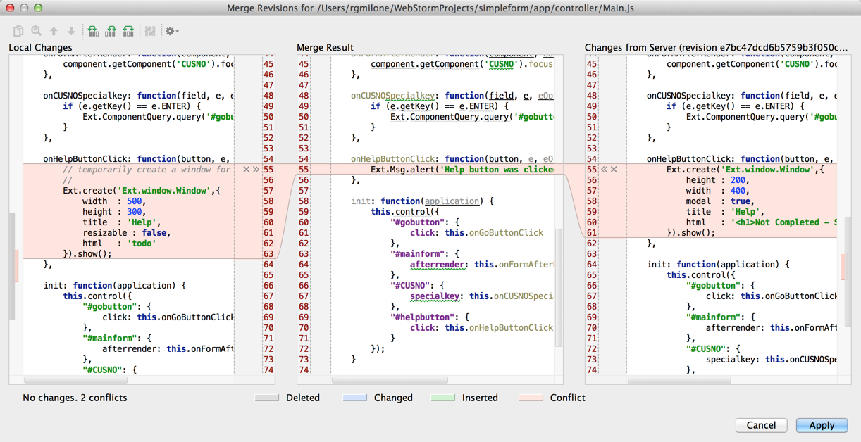Richard's WebStorm - Merge Revisions window for Main.js