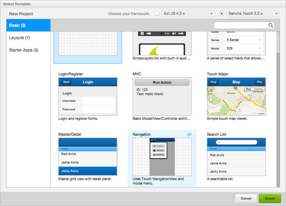 Sencha Architect 3 Templates